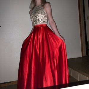 Red two piece formal dress